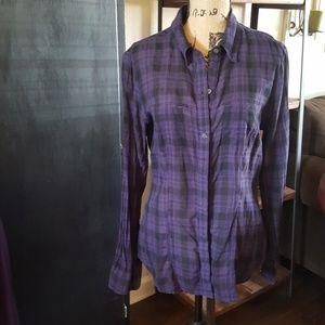 Converse Purple Plaid Long Sleeve sz XL